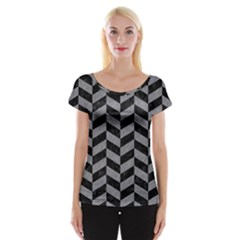 Chevron1 Black Marble & Gray Colored Pencil Cap Sleeve Tops