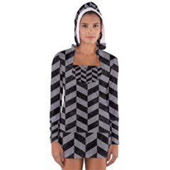 Chevron1 Black Marble & Gray Colored Pencil Long Sleeve Hooded T Shirt