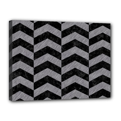 Chevron2 Black Marble & Gray Colored Pencil Canvas 16  X 12