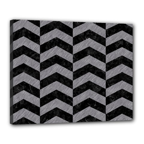 Chevron2 Black Marble & Gray Colored Pencil Canvas 20  X 16