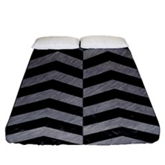 Chevron2 Black Marble & Gray Colored Pencil Fitted Sheet (queen Size)