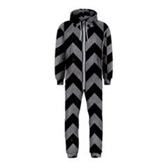 Chevron2 Black Marble & Gray Colored Pencil Hooded Jumpsuit (kids)
