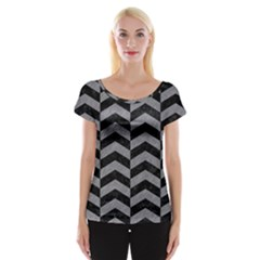 Chevron2 Black Marble & Gray Colored Pencil Cap Sleeve Tops