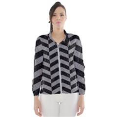 Chevron2 Black Marble & Gray Colored Pencil Wind Breaker (women)