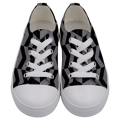 Chevron2 Black Marble & Gray Colored Pencil Kids  Low Top Canvas Sneakers