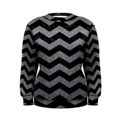 Chevron3 Black Marble & Gray Colored Pencil Women s Sweatshirt