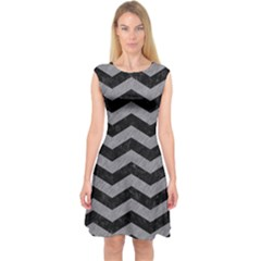 Chevron3 Black Marble & Gray Colored Pencil Capsleeve Midi Dress