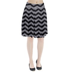 Chevron3 Black Marble & Gray Colored Pencil Pleated Skirt