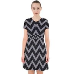 Chevron9 Black Marble & Gray Colored Pencil Adorable In Chiffon Dress