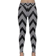 Chevron9 Black Marble & Gray Colored Pencil (r) Classic Yoga Leggings