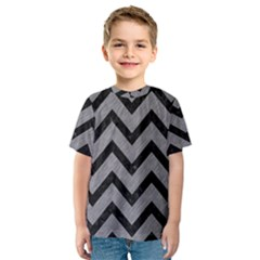 Chevron9 Black Marble & Gray Colored Pencil (r) Kids  Sport Mesh Tee