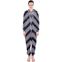 Chevron9 Black Marble & Gray Colored Pencil (r) Hooded Jumpsuit (ladies)