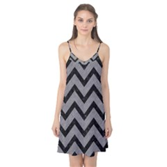 Chevron9 Black Marble & Gray Colored Pencil (r) Camis Nightgown
