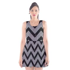 Chevron9 Black Marble & Gray Colored Pencil (r) Scoop Neck Skater Dress