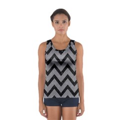 Chevron9 Black Marble & Gray Colored Pencil (r) Sport Tank Top