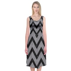 Chevron9 Black Marble & Gray Colored Pencil (r) Midi Sleeveless Dress