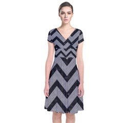 Chevron9 Black Marble & Gray Colored Pencil (r) Short Sleeve Front Wrap Dress