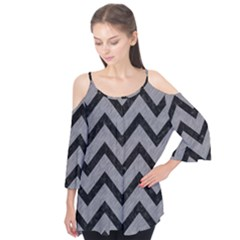 Chevron9 Black Marble & Gray Colored Pencil (r) Flutter Tees