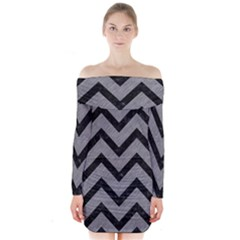 Chevron9 Black Marble & Gray Colored Pencil (r) Long Sleeve Off Shoulder Dress