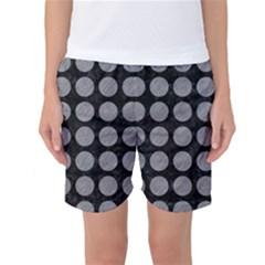 Circles1 Black Marble & Gray Colored Pencilcircle1 Black Marble & Gray Colored Pencil Women s Basketball Shorts