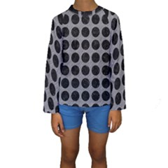 Circles1 Black Marble & Gray Colored Pencil (r) Kids  Long Sleeve Swimwear