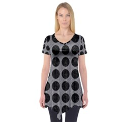 Circles1 Black Marble & Gray Colored Pencil (r) Short Sleeve Tunic