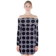 Circles1 Black Marble & Gray Colored Pencil (r) Long Sleeve Off Shoulder Dress
