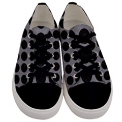 Circles1 Black Marble & Gray Colored Pencil (r) Men s Low Top Canvas Sneakers