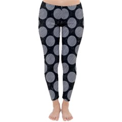 Circles2 Black Marble & Gray Colored Pencil Classic Winter Leggings