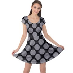 Circles2 Black Marble & Gray Colored Pencil Cap Sleeve Dress