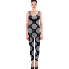 Circles2 Black Marble & Gray Colored Pencil Onepiece Catsuit