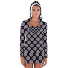 Circles2 Black Marble & Gray Colored Pencil Long Sleeve Hooded T Shirt