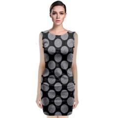 Circles2 Black Marble & Gray Colored Pencil Classic Sleeveless Midi Dress