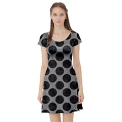 Circles2 Black Marble & Gray Colored Pencil (r) Short Sleeve Skater Dress