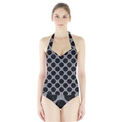 Circles2 Black Marble & Gray Colored Pencil (r) Halter Swimsuit