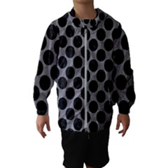 Circles2 Black Marble & Gray Colored Pencil (r) Hooded Wind Breaker (kids)