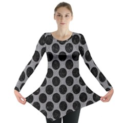 Circles2 Black Marble & Gray Colored Pencil (r) Long Sleeve Tunic