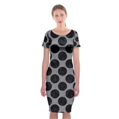 Circles2 Black Marble & Gray Colored Pencil (r) Classic Short Sleeve Midi Dress