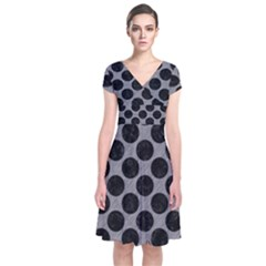 Circles2 Black Marble & Gray Colored Pencil (r) Short Sleeve Front Wrap Dress