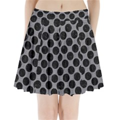 Circles2 Black Marble & Gray Colored Pencil (r) Pleated Mini Skirt
