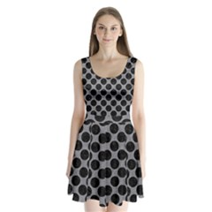 Circles2 Black Marble & Gray Colored Pencil (r) Split Back Mini Dress