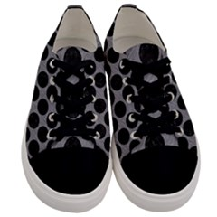 Circles2 Black Marble & Gray Colored Pencil (r) Men s Low Top Canvas Sneakers