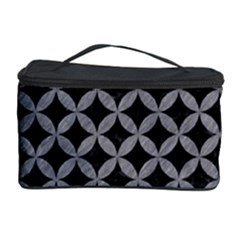 Circles3 Black Marble & Gray Colored Pencil Cosmetic Storage Case