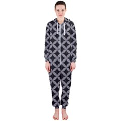 Circles3 Black Marble & Gray Colored Pencil Hooded Jumpsuit (ladies)