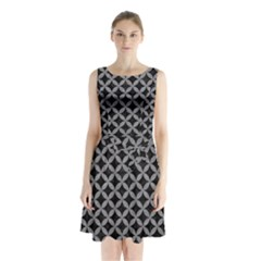 Circles3 Black Marble & Gray Colored Pencil Sleeveless Waist Tie Chiffon Dress