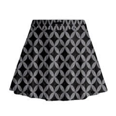 Circles3 Black Marble & Gray Colored Pencil Mini Flare Skirt