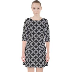 Circles3 Black Marble & Gray Colored Pencil Pocket Dress