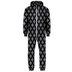 Circles3 Black Marble & Gray Colored Pencil (r) Hooded Jumpsuit (men)