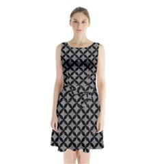 Circles3 Black Marble & Gray Colored Pencil (r) Sleeveless Waist Tie Chiffon Dress