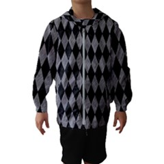 Diamond1 Black Marble & Gray Colored Pencil Hooded Wind Breaker (kids)